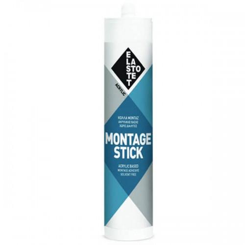 ΜONTAGE STICK Elastotet Κόλλα Μοντάζ Ακρυλικής Βάσης Χωρίς Διαλύτες Λευκή 280 ml