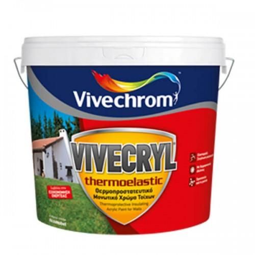 VIVECRYL THERMOELASTIC Vivechrom. Θερμοπροστατευτικό & μονωτικό χρώμα εξωτερικών τοίχων Λευκό 3 Lt