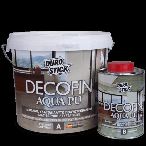 Decofin Aqua PU Durostick Διάφανο, υδατοδιαλυτό, πολυουρεθανικό ματ βερνίκι 2 συστ. Α+Β 1 Kg