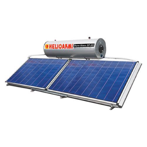 Ηλιακός Θερμοσίφωνας Helioakmi Megasun E300 lt / 5,24 m² με 2 επιλεκτικούς οριζόντιους Συλλέκτες Τιτανίου Διπλής Ενέργειας με Glass Boiler
