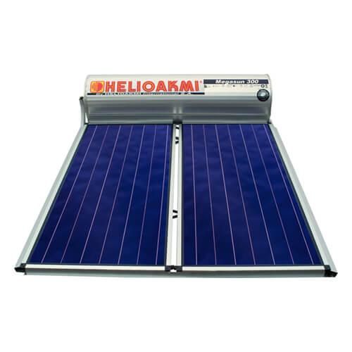 Ηλιακός Θερμοσίφωνας Helioakmi Megasun 300 lt / 4,20 m² με 2 επιλεκτικούς κάθετους Συλλέκτες Τιτανίου Διπλής Ενέργειας με Glass Boiler