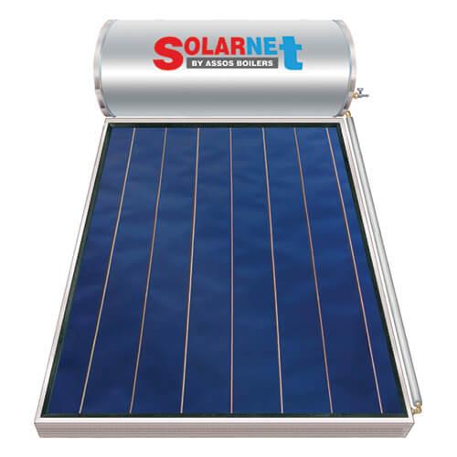 Ηλιακός Θερμοσίφωνας Solarnet 160 lt / 2,50 m² με επιλεκτικό κάθετο Συλλέκτη Τιτανίου Διπλής Ενέργειας με Glass Boiler