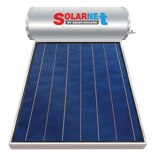 Ηλιακός Θερμοσίφωνας Solarnet Μ160 lt / 2,00 m² με επιλεκτικό κάθετο Συλλέκτη Τιτανίου Διπλής Ενέργειας με Glass Boiler