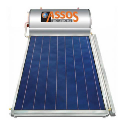 Ηλιακός Θερμοσίφωνας Assos Boilers Μ160 lt / 2,10 m² με επιλεκτικό κάθετο Συλλέκτη Τιτανίου Διπλής Ενέργειας με Glass Boiler
