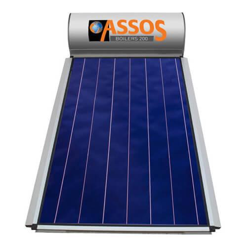 Ηλιακός Θερμοσίφωνας Assos Boilers 200 lt / 2,62 m² με επιλεκτικό κάθετο Συλλέκτη Τιτανίου Διπλής Ενέργειας με Glass Boiler