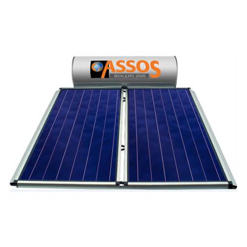Ηλιακός Θερμοσίφωνας Assos Boilers E200 lt / 4,20 m² με 2 επιλεκτικούς κάθετους Συλλέκτες Τιτανίου Διπλής Ενέργειας με Glass Boiler