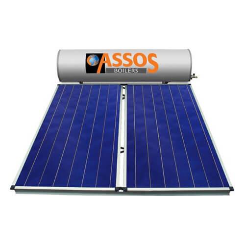 Ηλιακός Θερμοσίφωνας Assos Boilers 300 lt / 4,20 m² με 2 επιλεκτικούς κάθετους Συλλέκτες Τιτανίου Διπλής Ενέργειας με Glass Boiler
