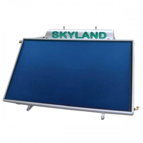 Ηλιακός Θερμοσίφωνας Skyland GLB 120 lt με επιλεκτικό χαμηλού ύψους οριζόντιο συλλέκτη, επιφάνειας 2,05 m², διπλής ενέργειας με Glass Boiler