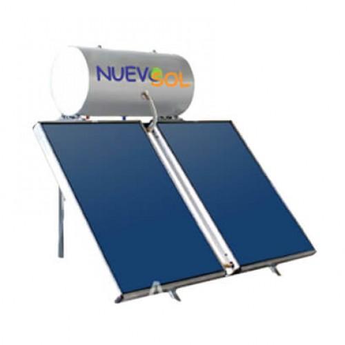 Ηλιακός Θερμοσίφωνας Nuevosol 200 lt με δύο επιλεκτικούς κάθετους συλλέκτες 2x2.00 m², συνολικής επιφάνειας 4,00 m², διπλής ενέργειας με Glass Boiler