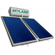 Ηλιακός Θερμοσίφωνας Skyland GL 170 lt με δύο επιλεκτικούς κάθετους συλλέκτες 2x1.55 m², συνολικής επιφάνειας 3,10 m², τριπλής ενέργειας με Glass Boiler