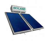 Ηλιακός Θερμοσίφωνας Skyland GL 200 lt με δύο επιλεκτικούς κάθετους συλλέκτες 2x2.05 m², συνολικής επιφάνειας 4,10 m², τριπλής ενέργειας με Glass Boiler