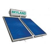 Ηλιακός Θερμοσίφωνας Skyland GLD 200 lt με δύο επιλεκτικούς κάθετους συλλέκτες 2x2.05 m², συνολικής επιφάνειας 4,10 m², διπλής ενέργειας με Glass Boiler