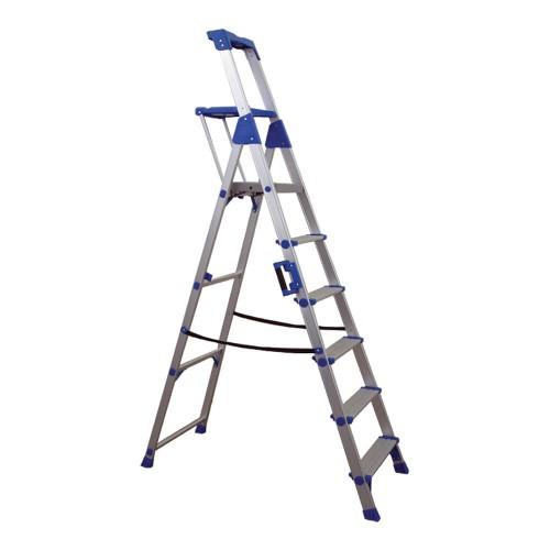 Σκάλα Αλουμινίου 5+1 με σκαλοπάτι 10 cm και Διπλό Πλατύσκαλο Profal 204106-2