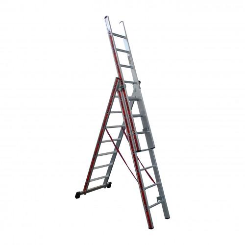 Σκάλα Αλουμινίου Πτυσσόμενη τριών τεμ. 3x9 Profal 800309