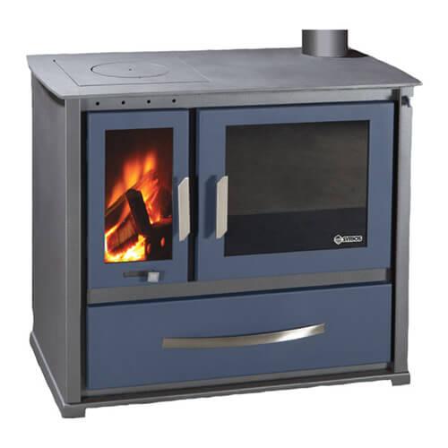 Syrios Alea KS-2000A Κουζίνα ξύλου από Χάλυβα με Θερμοθάλαμο και πλάκα από Χάλυβα