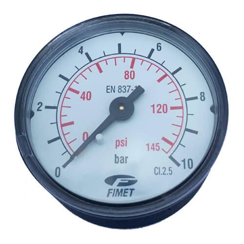 Μανόμετρο οριζόντιο Φ50 1/4 Ίντσας 10 bar