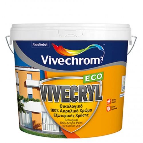 VIVECRYL, Vivechrom. Aκρυλικό χρώμα ματ εξωτερικής χρήσης Λευκό 750 ML