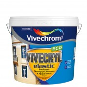 VIVECRYL ELASTIC Vivechrom. Eιδικό ελαστομερές ακρυλικό μονωτικό & χρώμα Λευκό 10 Lt