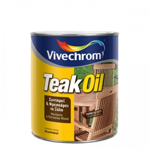 TEAK OIL, Vivechrom 750 ml. Ειδικό μείγμα από έλαια για φρεσκάρισμα σκληρών κυρίως ξύλων