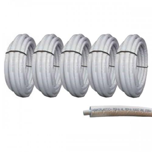 Πολυστρωματική Σωλήνα Sami Plastic Φ20 x 2 με Λευκή Μόνωση 10mm
