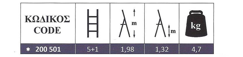 Σκάλα Αλουμινίου οικιακής χρήσης 5+1 Super Profal 200501