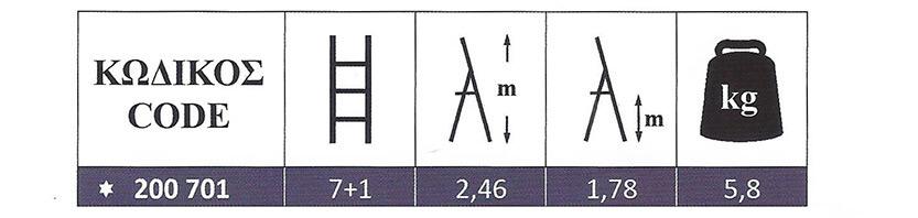 Σκάλα Αλουμινίου οικιακής χρήσης 7+1 Super Profal 200701