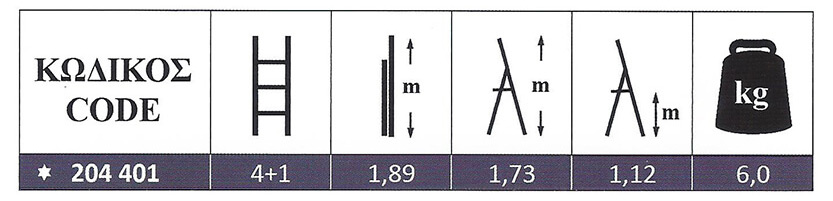Σκάλα Αλουμινίου ενισχυμένη οικιακής χρήσης 4+1 Marea Profal 204401