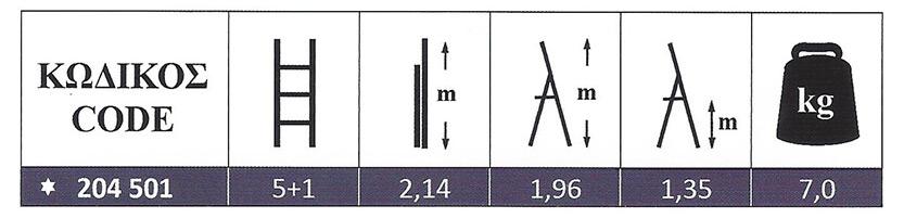 Σκάλα Αλουμινίου ενισχυμένη οικιακής χρήσης 5+1 Marea Profal 204501