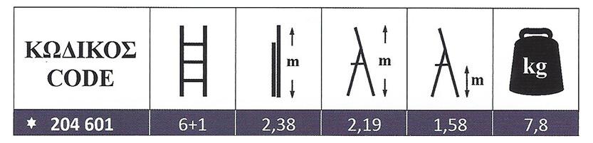 Σκάλα Αλουμινίου ενισχυμένη οικιακής χρήσης 6+1 Marea Profal 204601