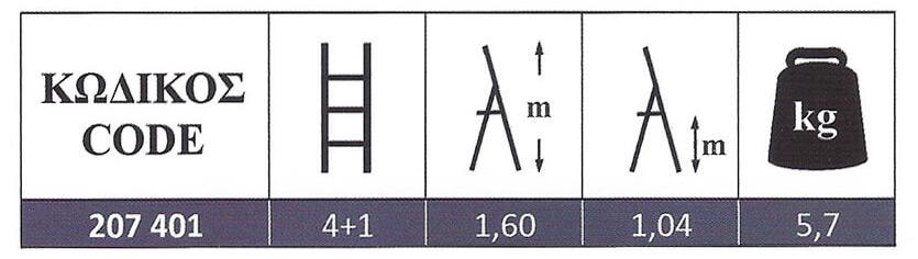 Σκάλα Σιδήρου γαλβανιζέ οικιακής χρήσης 4+1 Steel Profal 207401