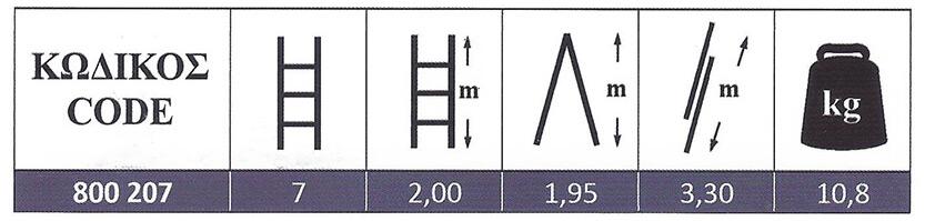 Σκάλα Αλουμινίου Πτυσσόμενη επαγγελματικής χρήσης δύο τεμαχίων 2x7 Profal 800207