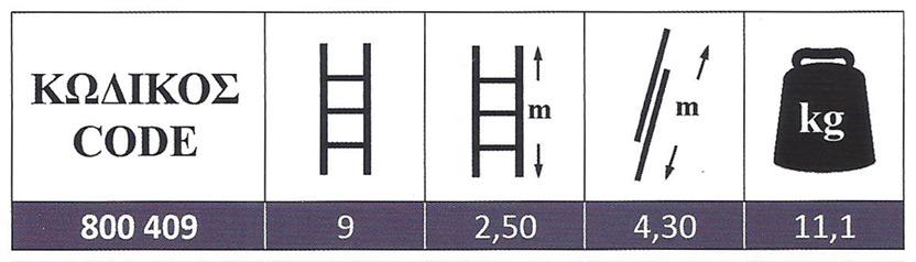 Σκάλα Αλουμινίου διπλή πτυσσόμενη αποσπώμενη 2x9 Σκαλοπάτια Profal 800407