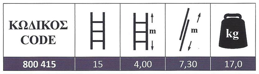 Σκάλα Αλουμινίου διπλή πτυσσόμενη αποσπώμενη 2x15 Σκαλοπάτια Profal 800415