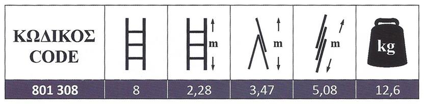 Σκάλα Αλουμινίου Πτυσσόμενη επαγγελματικής χρήσης τριών τεμαχίων ελαφρού τύπου 3x8 Profal 801308